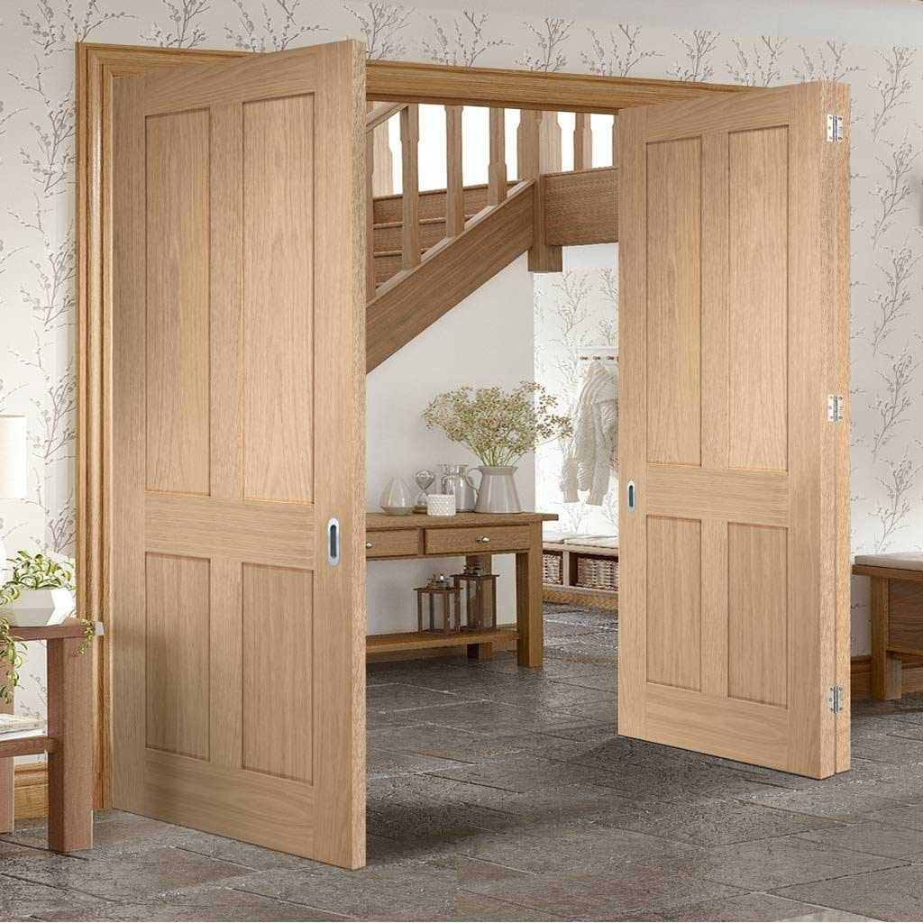 Bespoke Thrufold Victorian Oak 4 Panel Folding 2+1 Door - No Raised Mouldings - Prefinished