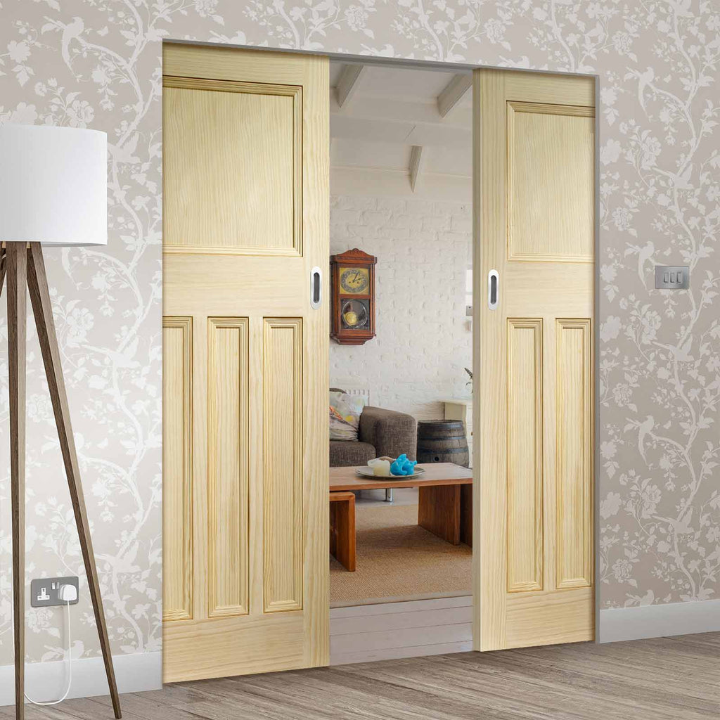 Vine DX Clear Pine Solid Absolute Evokit Double Pocket Door