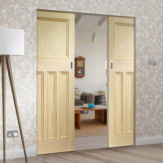 Image: Vine DX Clear Pine Solid Absolute Evokit Double Pocket Door