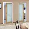 Walden Real American Oak Veneer Unico Evo Pocket Doors - Frosted Glass - Unfinished