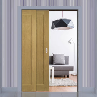 Image: Walden American Oak Veneer Staffetta Twin Telescopic Pocket Doors - Unfinished