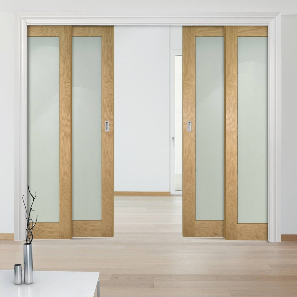 Walden American Oak Veneer Staffetta Quad Telescopic Pocket Doors - Frosted Glass - Unfinished