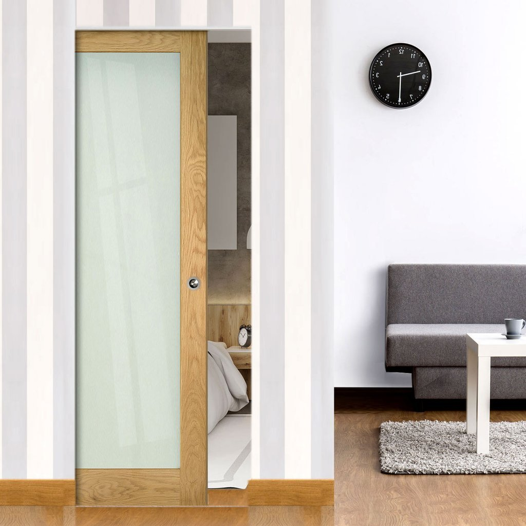 Walden Oak Absolute Evokit Single Pocket Door - Frosted Glass - Unfinished