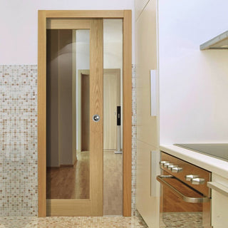 Image: Walden Real American Oak Veneer Single Evokit Pocket Door - Clear Glass - Unfinished