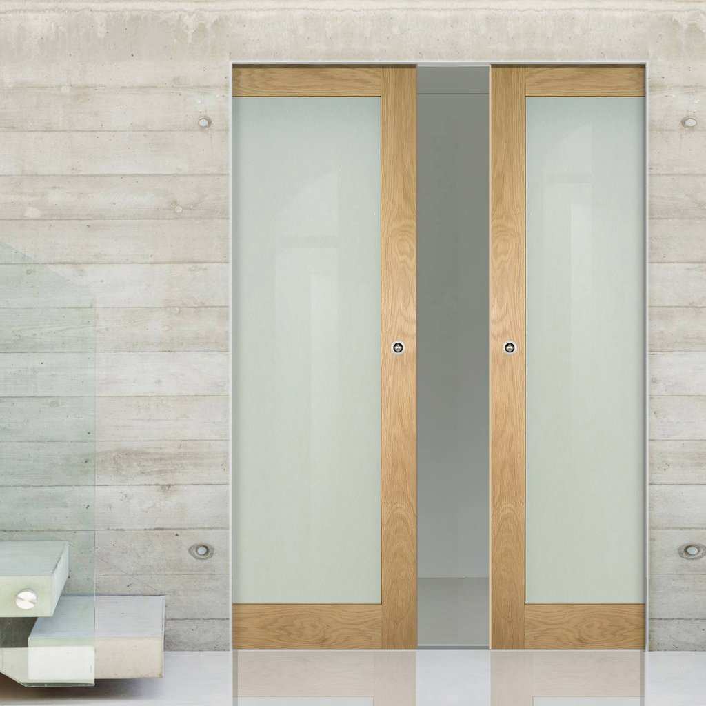 Walden Oak Absolute Evokit Double Pocket Doors - Frosted Glass - Unfinished