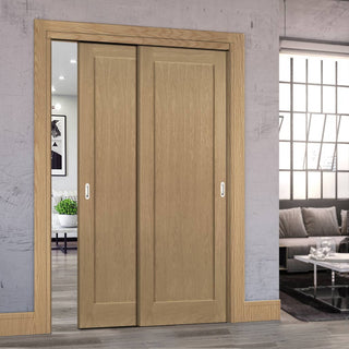 Image: Two Sliding Doors and Frame Kit - Walden Real American Oak Veneer Door - Unfinished