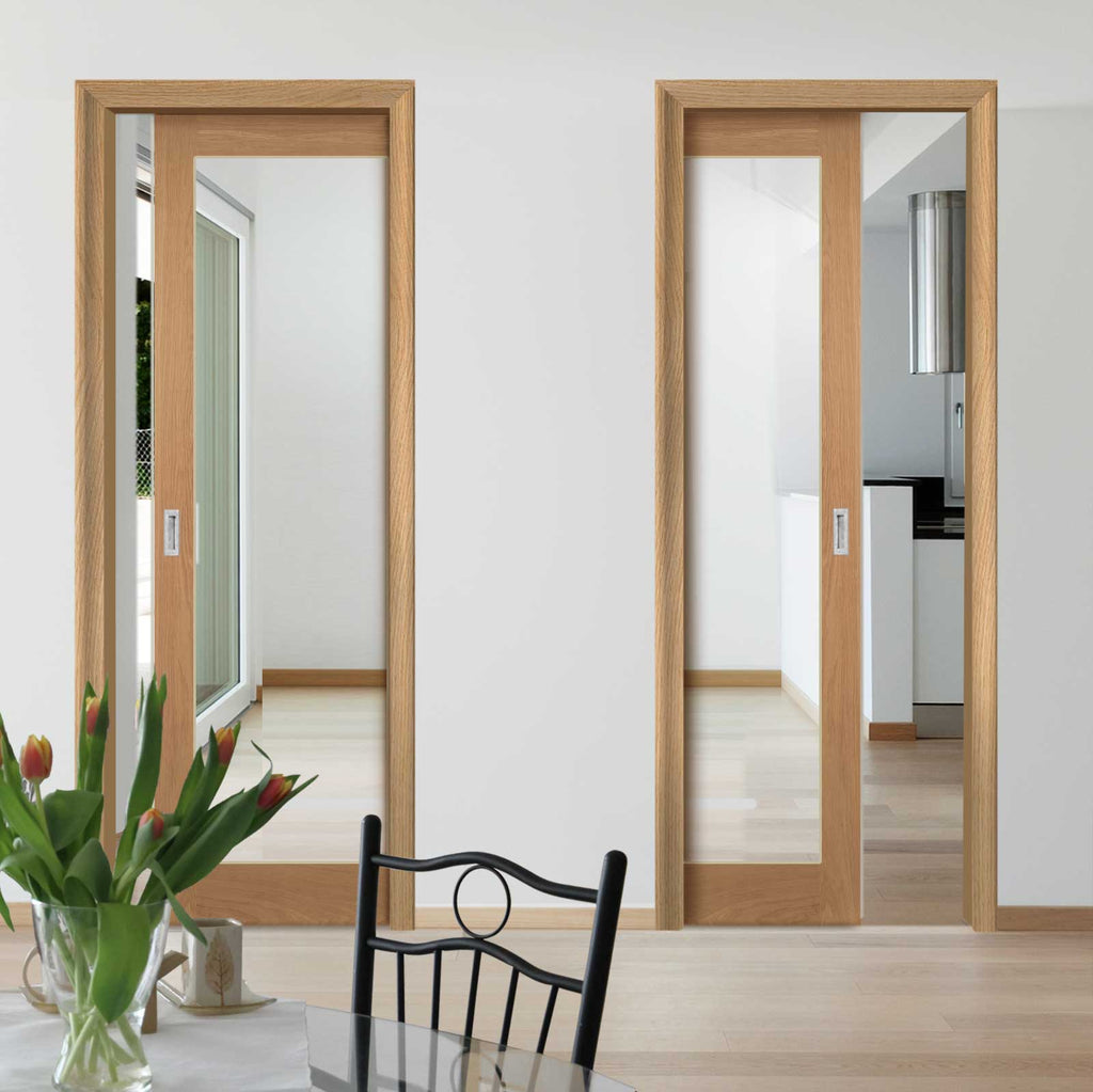 Walden Real American Oak Veneer Unico Evo Pocket Doors - Clear Glass - Unfinished
