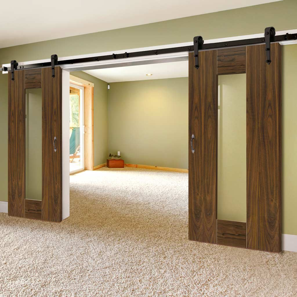 Double Sliding Door & Track - Axis Shaker Walnut Doors - Clear Glass - Prefinished