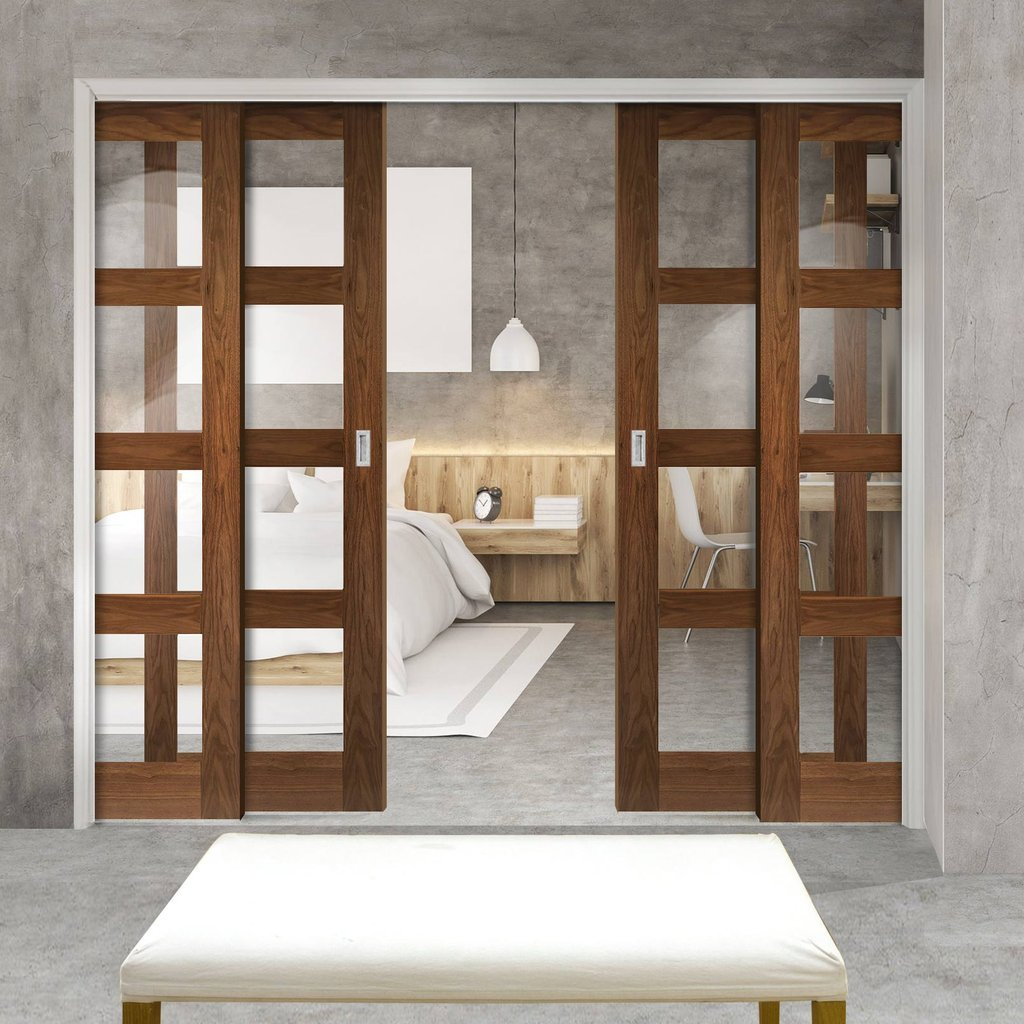 Coventry Walnut Veneer Shaker Style Staffetta Quad Telescopic Pocket Doors - Clear Glass - Prefinished