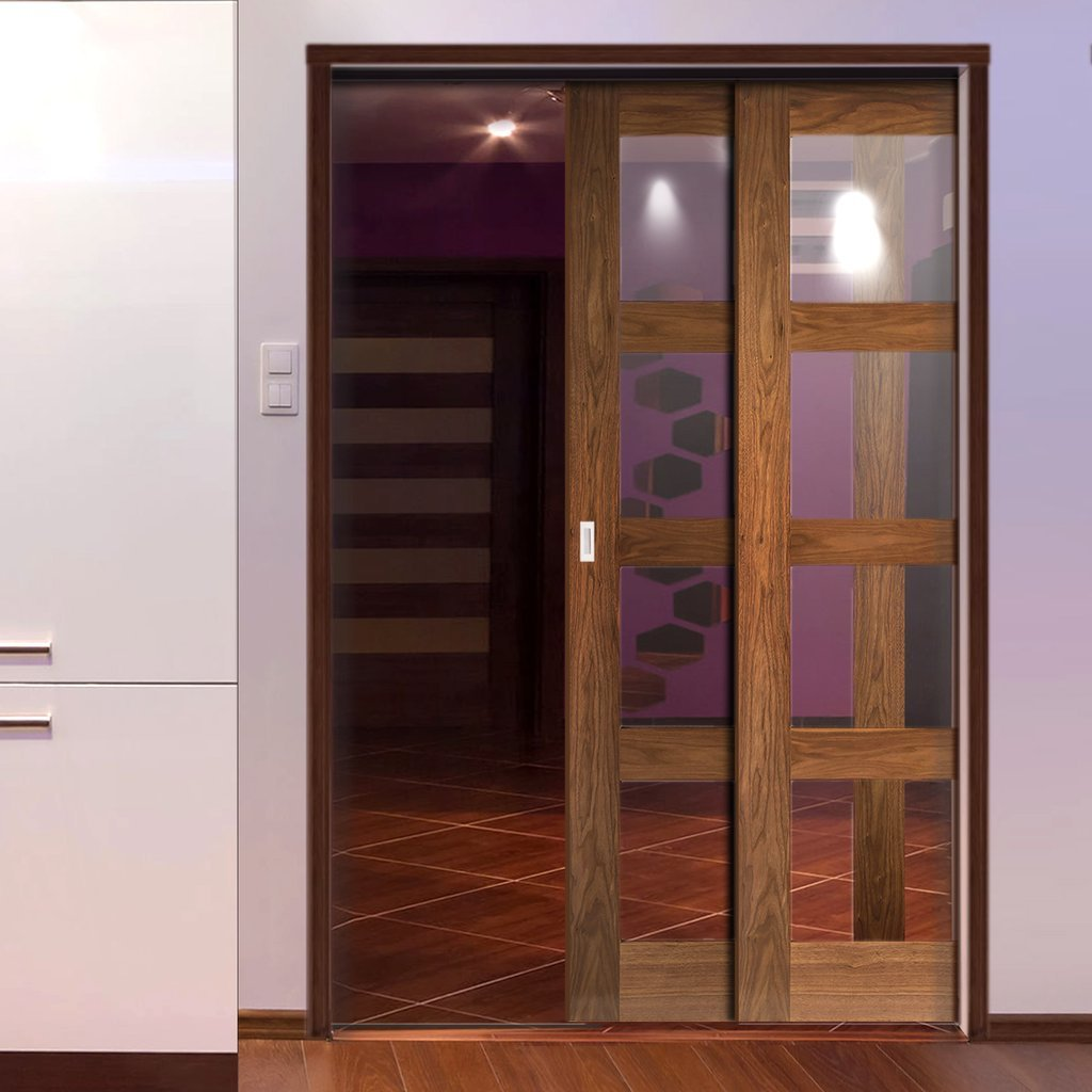 Coventry Walnut Veneer Shaker Style Staffetta Twin Telescopic Pocket Doors - Clear Glass - Prefinished