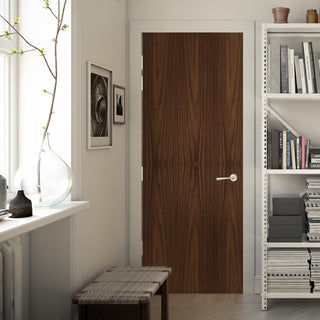Image: Bespoke Fire Door - Flush American Black Walnut Veneer - 60 Minute Fire Rated - Prefinished