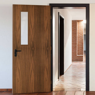 Image: Bespoke Fire Door - Flush American Black Walnut Veneer - 30 Minute Fire Rated - Clear Glass - 08 - Prefinished