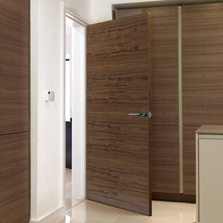 Image: J B Kind Walnut Fernor Veneer Flush Fire Door - 1/2 Hour Fire Rated - Prefinished