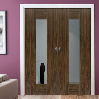 Image: J B Kind Axis Walnut Shaker Door Pair - Clear Glass - Prefinished