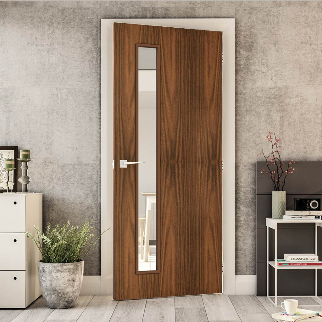 Bespoke Fire Door - Flush American Black Walnut Veneer - 30 Minute Fire Rated - Clear Glass - 06 - Prefinished