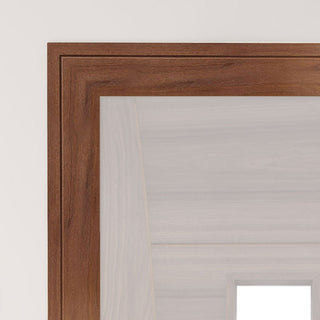 Image: Deanta Joinery; 80x16mm: Prefinished Shaker Profile Walnut Veneer Architrave