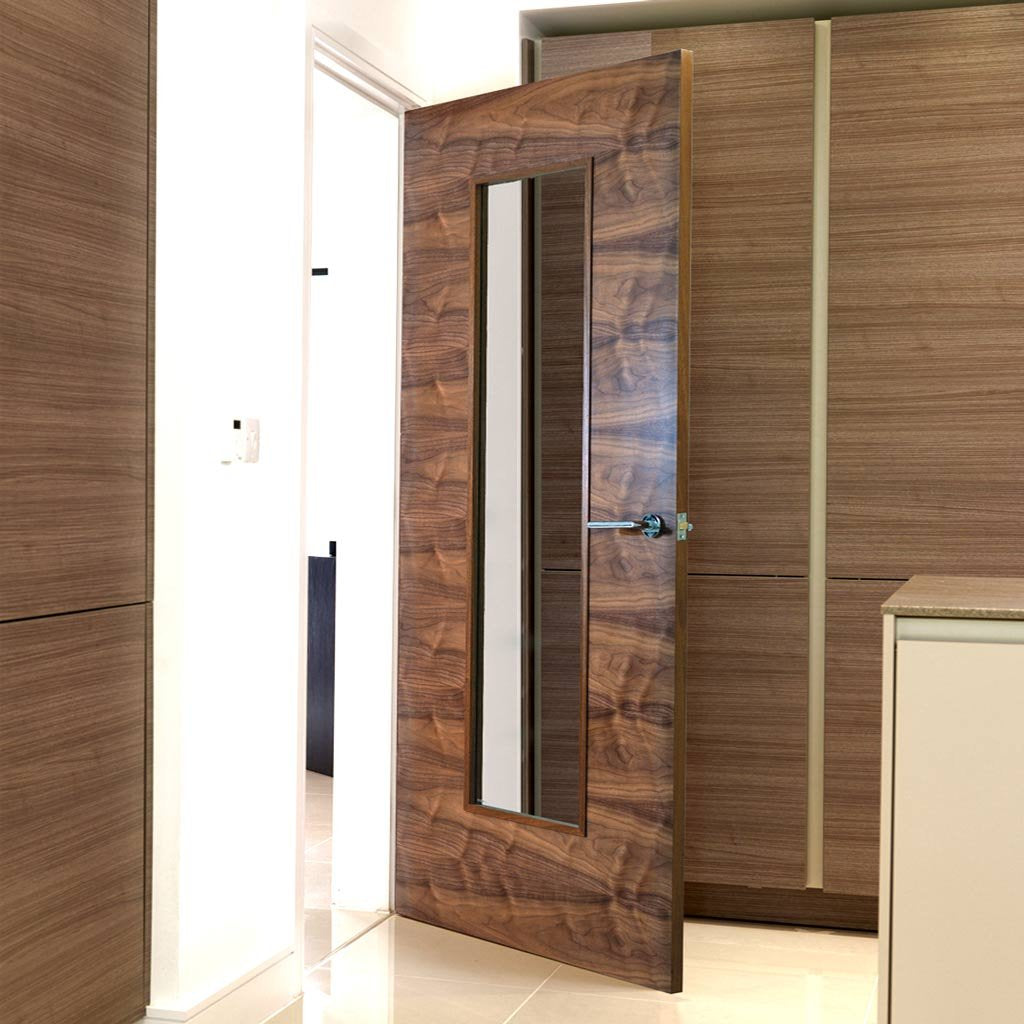 Franquette Flush Walnut Veneered Door - Clear Glass - Prefinished