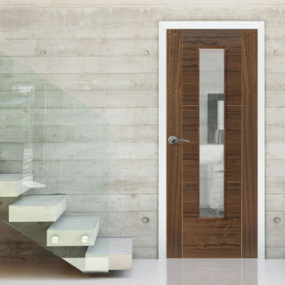 Image: Brisa Mistral Flush Walnut Veneered Door - Clear Glass - Decorative Grooves - Prefinished