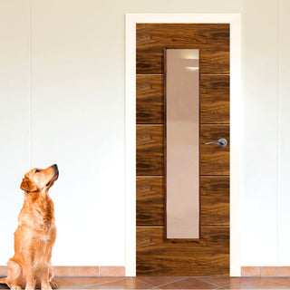 Image: Parisienne Walnut Door with Decorative Grooves - Clear Glass - Prefinished