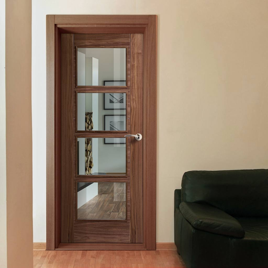Vancouver Walnut 4 Pane Door Clear Glass Prefinished