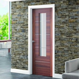 Image: Walnut veneer intrior modern door with safety glazing