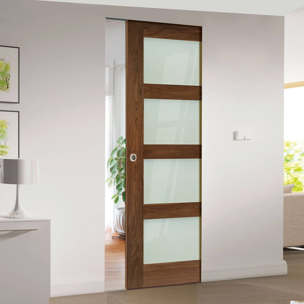 Coventry Walnut Shaker Style Absolute Evokit Single Pocket Door - Frosted Glass - Prefinished