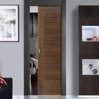 Image: Mistral Walnut Single Evokit Pocket Door - Prefinished