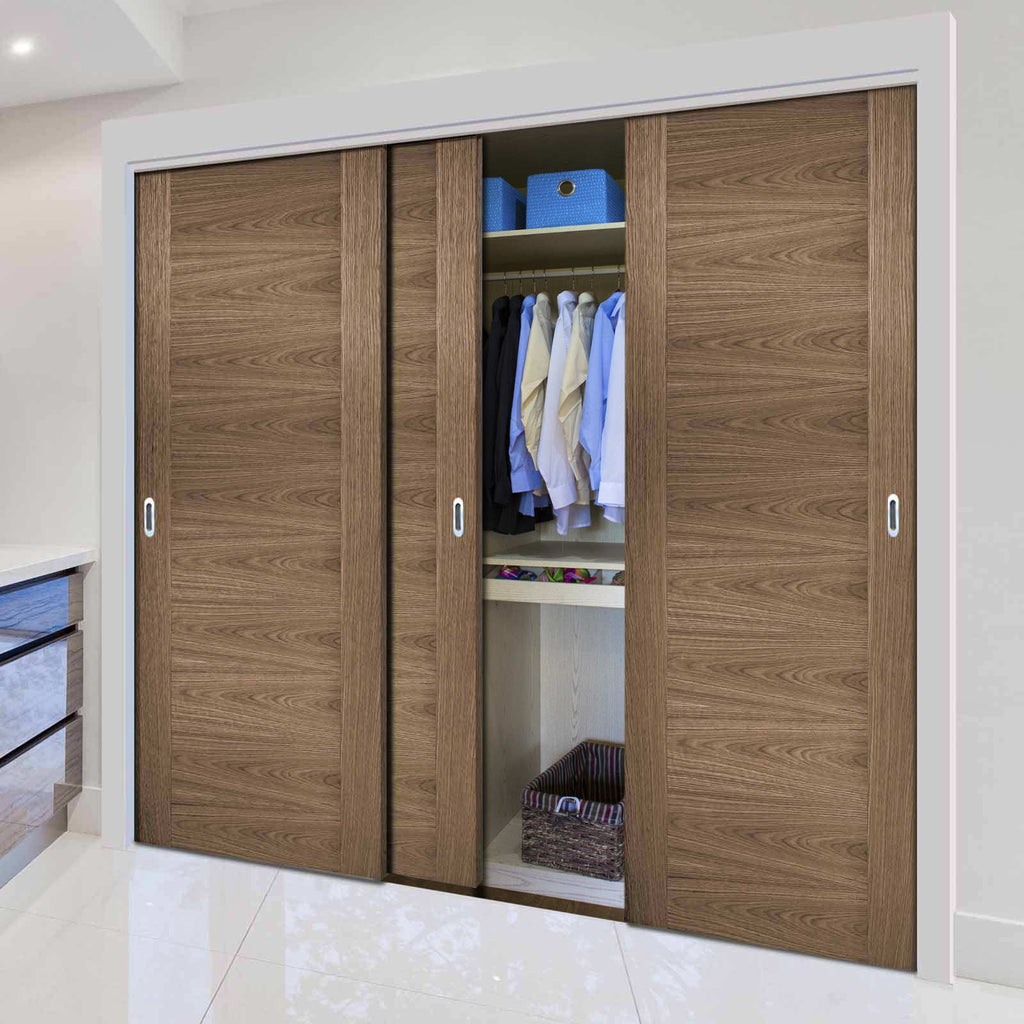 Three Sliding Wardrobe Doors & Frame Kit - Sofia Walnut Veneer Door - Prefinished