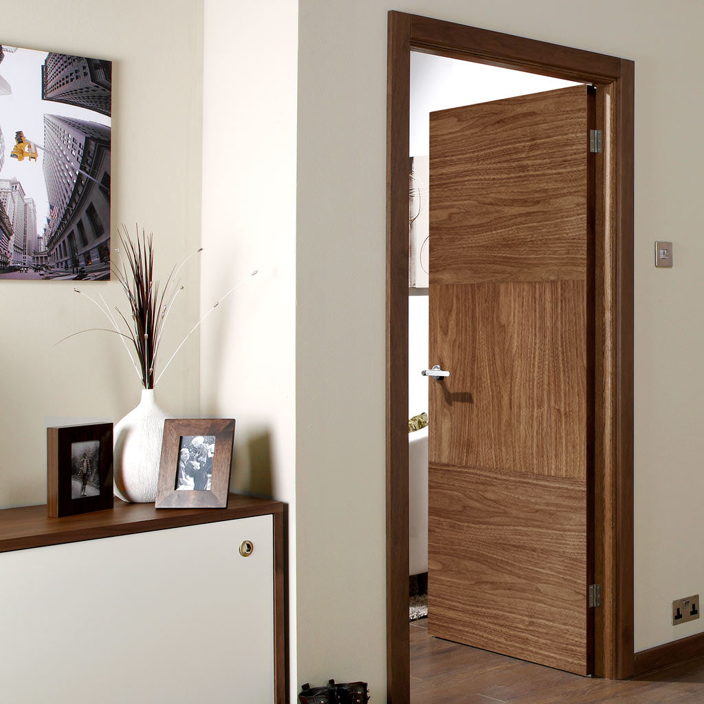 Tres Walnut Flush Fire Door - 30 Minute Fire Rated - Prefinished