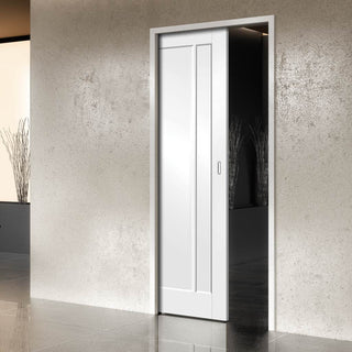 Image: Worcester 3 Panel Single Evokit Pocket Door - Primed