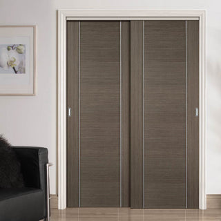 Image: Two Sliding Wardrobe Doors & Frame Kit - Alcaraz Chocolate Grey Door - Prefinished