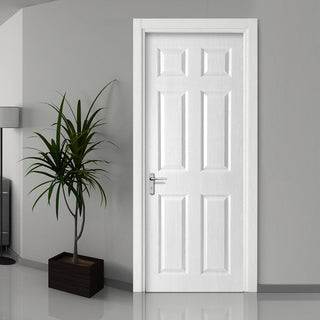 Image: White PVC washington solid 6 panel door grained faces