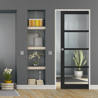 Image: Bespoke Single Pocket Door WK6358 - Clear Glass - 2 Prefinished Colour Choices