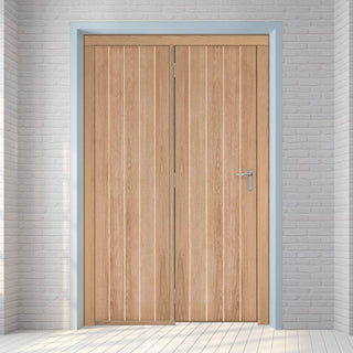Image: ThruEasi Room Divider - Wexford Panel Oak Unfinished Door with Single Side - 2018mm High - Multiple Widths