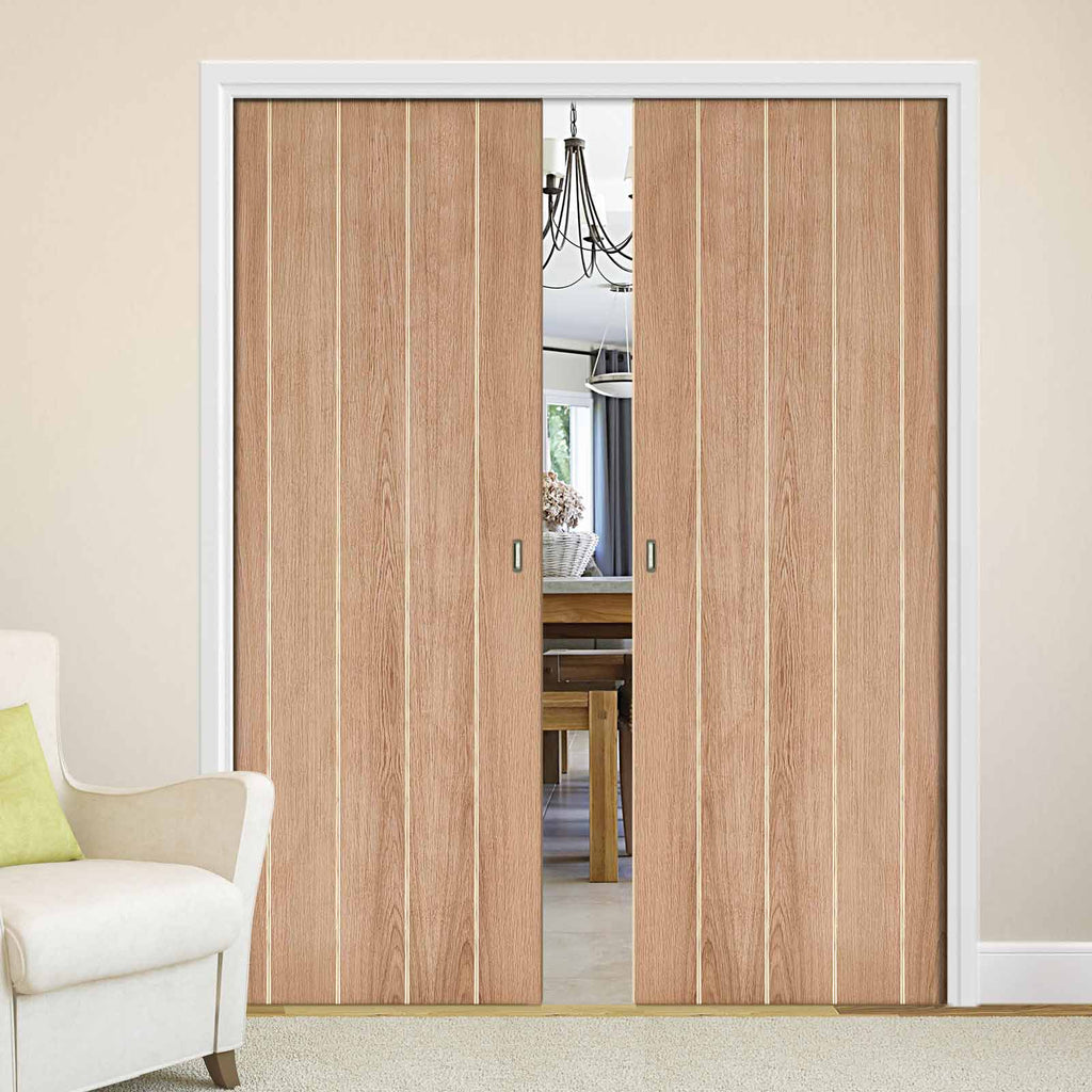 Wexford Oak Flush Double Evokit Pocket Doors