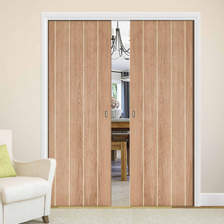 Image: Wexford Oak Flush Double Evokit Pocket Doors