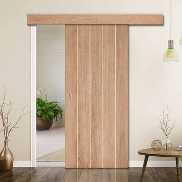 Single Sliding Door & Wall Track - Wexford Oak Panel Door - Unfinished