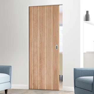 Image: Wexford Oak Flush Absolute Evokit Single Pocket Doors - Unfinished