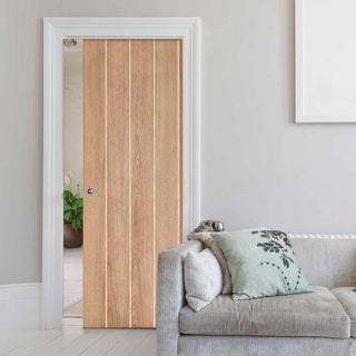 Image: Wexford Oak Flush Single Evokit Pocket Door