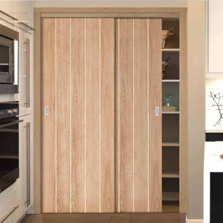 Image: Thruslide Wexford Oak Panel 2 Door Wardrobe and Frame Kit