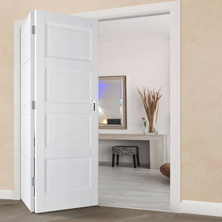 Image: Thrufold Contemporary 4 Panel 2+0 Folding Door - White Primed