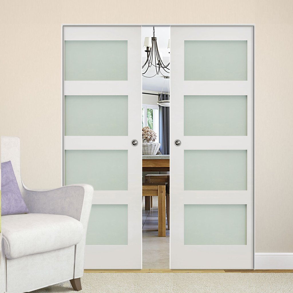 Coventry Shaker Absolute Evokit Double Pocket Doors - Frosted Glass - White Primed