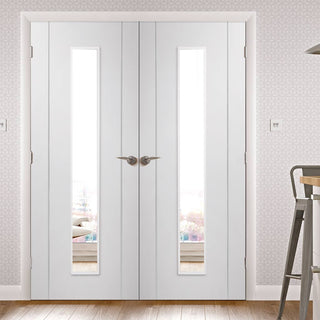 Image: Forli White Flush Door Pair - Clear Glass - Aluminium Inlay - Prefinished