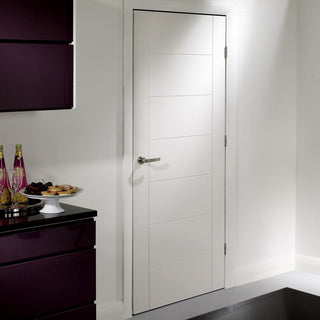 Image: Fire Proof Palermo Fire Door - 1/2 Hour Fire Rated - White Primed