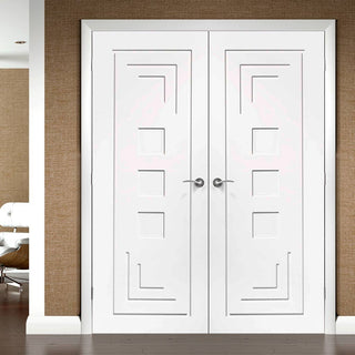 Image: Simpli Double Door Set - Altino Flush Door - White Primed