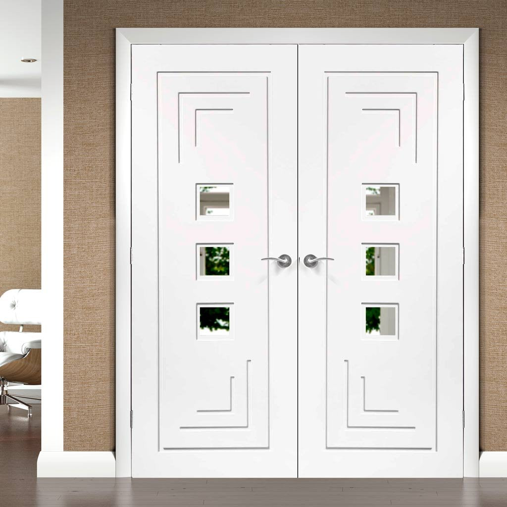Altino White Primed Door Pair - Clear Glass