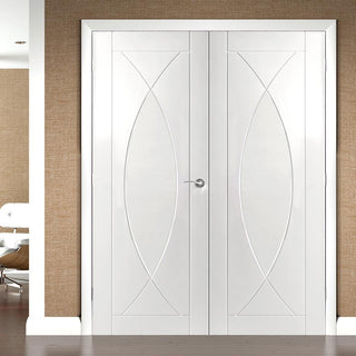 Image: Pesaro White Primed Flush Fire Door Pair - 30 Minute Fire Rated