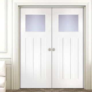Image: Edwardian Lightly Grained PVC Door Pair - Glass Options