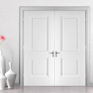 Image: LPD Joinery Arnhem 2 Panel Fire Door Pair - 1/2 Hour Fire Rated - White Primed