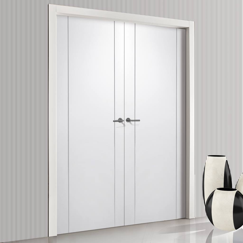 Forli White Flush Door Pair - Aluminium Inlay - Prefinished